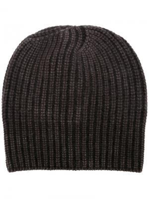 Кашемировая шапка-бини в рубчик Iris Von Arnim. Цвет: коричневый