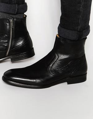 Hudson London Кожаные ботинки на молнии Plant. Цвет: черный