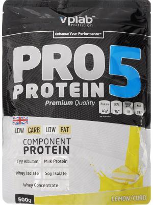 Протеин VPLab Pro5 Protein (лимон-творог) 500 г. Цвет: черный, белый