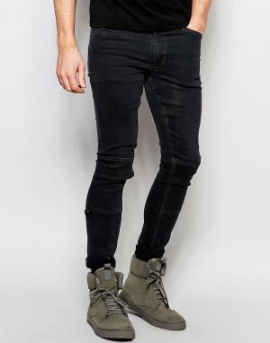 Dark Future Супероблегающие джинсы с нашивками и D-образными кольцами. Цвет: черный