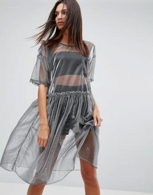 Uncivilised Сетчатое платье миди. Цвет: серебряный