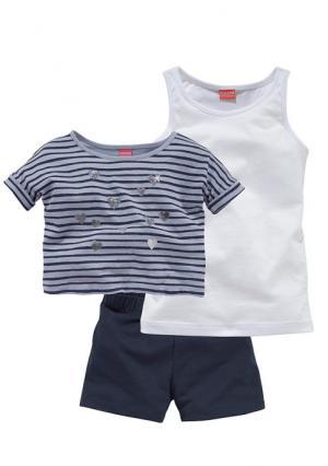 Комплект: футболка + топ шорты KIDOKI. Цвет: темно-синий
