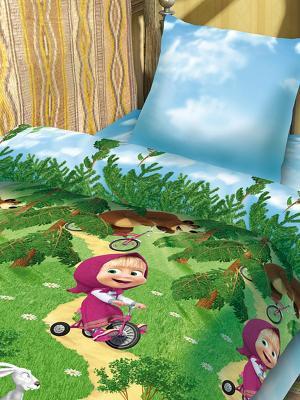 Комплект постельного белья 1,5 бязь Маша и Медведь. Цвет: голубой, зеленый