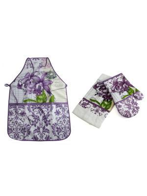 Набор кухонного текстиля: фартук, полотенце, варежка Русские подарки. Цвет: зеленый, белый, сиреневый
