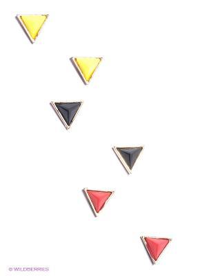 Серьги, 3 пары Funky Fish. Цвет: желтый, красный, черный