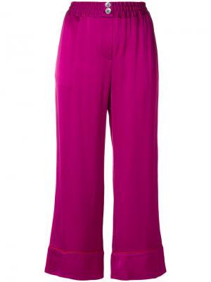 Укороченные широкие брюки Erika Cavallini. Цвет: розовый и фиолетовый