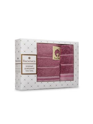 Комплект полотенец махровых гладкокрашеных с бордюром Sweety Barbara, 50х90см-1шт, 70*130см-1шт. Василиса. Цвет: лиловый