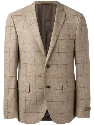 Пиджак в клетку Corneliani. Цвет: коричневый
