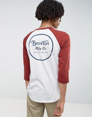 Brixton Футболка с рукавами реглан 3/4 и логотипом на спине. Цвет: серый