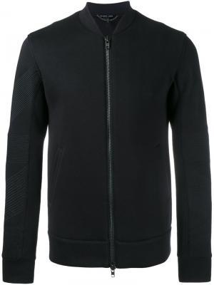 Куртка-бомбер с контрастной отделкой на рукавах Helmut Lang. Цвет: чёрный
