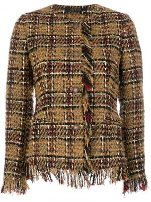 Пиджак в клетку с бахромой Tagliatore. Цвет: коричневый