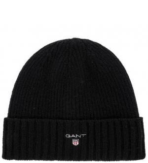 Шерстяная вязаная шапка с подкладкой Gant. Цвет: черный