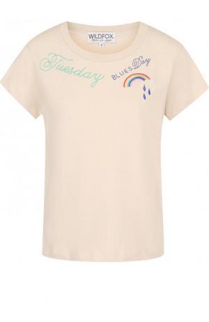 Хлопковая футболка с контрастной вышивкой и круглым вырезом Wildfox. Цвет: бежевый