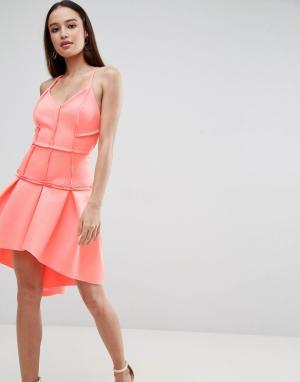ASOS Платье мини с корсетом и заниженной талией PREMIUM. Цвет: оранжевый