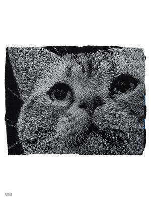 Полотенце махровое пестротканое жаккардовое Котик 3D Авангард. Цвет: черный, серый