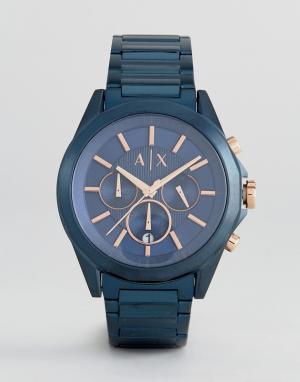 Armani Exchange Синие наручные часы с хронографом AX2607 44 мм. Цвет: черный