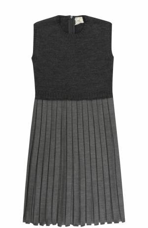 Шерстяное платье с плиссированной юбкой Caf. Цвет: серый