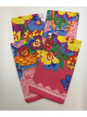 Набор полотенец, 4 шт A and C Collection. Цвет: голубой, розовый, синий