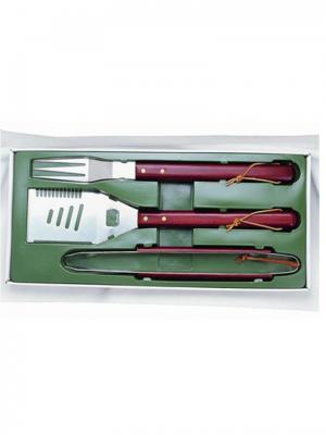 Набор для гриля 3 предмета, деревянные ручки GreenGlade. Цвет: зеленый, коричневый, серый