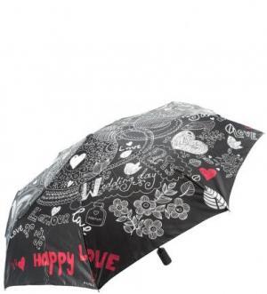 Складной зонт с сатиновым куполом FLIORAJ. Цвет: черный