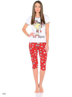 Пижама-майка, бриджи NAGOTEX. Цвет: белый, желтый