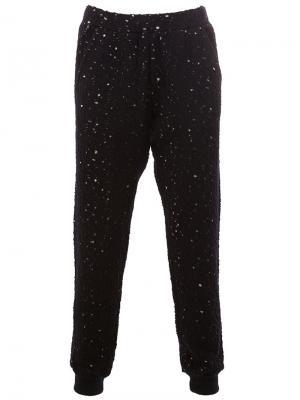Спортивные брюки с рваными деталями 08Sircus. Цвет: синий
