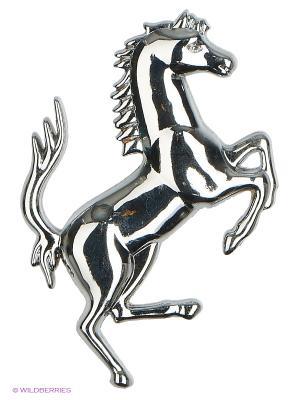 Наклейка металлическая 3D Лошадь серебряная N28  WIIIX. Цвет: серебристый