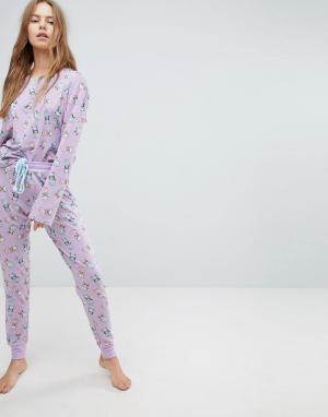Chelsea Peers Пижамный комплект из топа и штанов с принтом котов. Цвет: фиолетовый