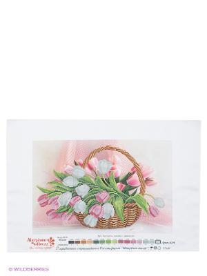 Рисунок на шелке Тюльпаны в корзине Матренин Посад. Цвет: розовый, белый, зеленый