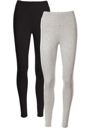 Легинсы стретч (2 шт.) (светло-серый меланж + черный) bonprix. Цвет: светло-серый меланж + черный