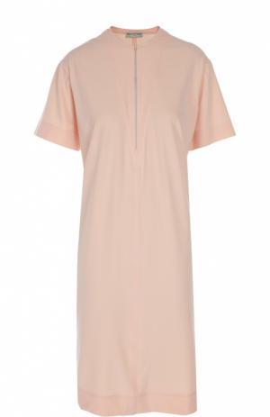 Прямое платье-футболка с вырезом на молнии Balenciaga. Цвет: розовый