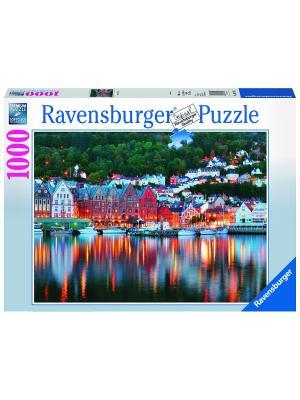 Пазл Берген, Норвегия 1000 шт Ravensburger. Цвет: синий