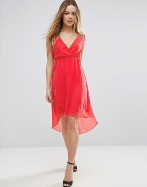 Jasmine Платье с V-образным вырезом и удлиненным краем. Цвет: оранжевый