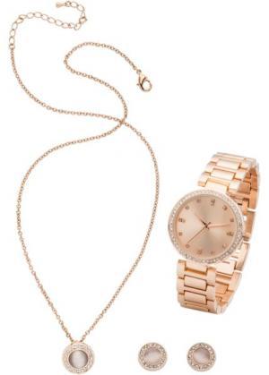 Комплект: часы + цепочка серьги (3 изд.) (розово-золотистый) bonprix. Цвет: розово-золотистый