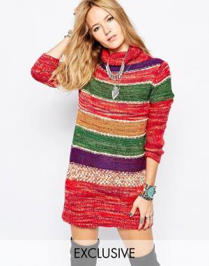 Spiritual Hippie Платье-джемпер с высоким воротом в полоску Spritual. Цвет: мульти