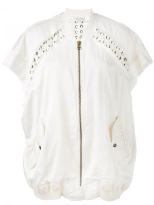 Куртка-бомбер свободного кроя со шнуровкой Faith Connexion. Цвет: телесный