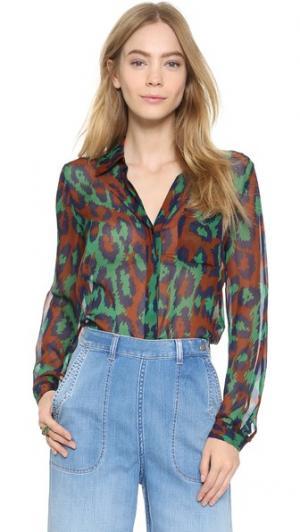 Рубашка на двух пуговицах Lorelei Diane von Furstenberg. Цвет: леопардовый средне-зеленый
