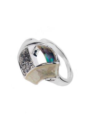 Кольцо Bijoux Land. Цвет: серебристый, белый, зеленый