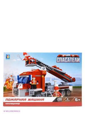 Конструктор Спасатели - Пожарная машина (298 деталей) 1Toy. Цвет: желтый, красный, черный