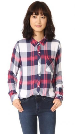 Рубашка на пуговицах Hunter RAILS. Цвет: белый/индиго/розовый
