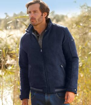 Стеганая Куртка из Искусственной Замши AFM. Цвет: темно-синии