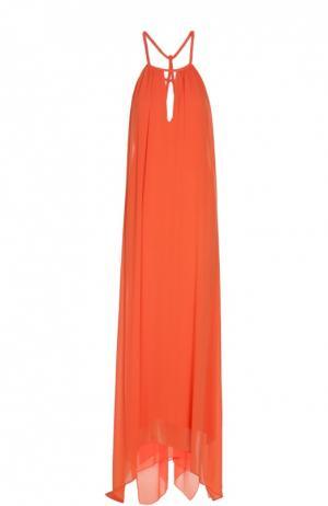 Платье в пол асимметричного кроя на бретельках Alice + Olivia. Цвет: оранжевый