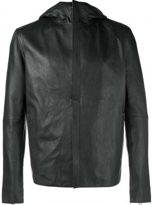Hooded leather jacket Lot78. Цвет: синий