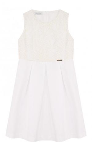 Мини-платье с кружевной отделкой I Pinco Pallino. Цвет: белый