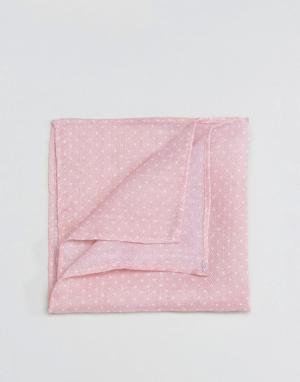 ASOS Фактурный платок для пиджака в горошек. Цвет: розовый