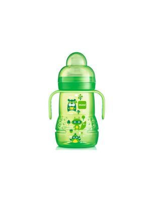 Тренировочная чашка с мягким носиком, ручками и соской, 4+ меясцев, 220 мл MAM. Цвет: зеленый
