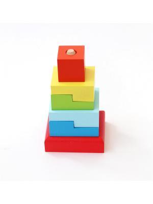 Пирамидка Лесенка малая Солнышко. Цвет: голубой,красный,желтый