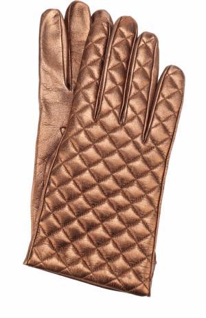 Перчатки из металлизированной кожи Sermoneta Gloves. Цвет: бронзовый