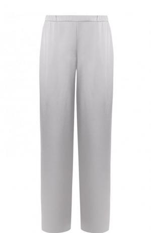 Однотонные широкие брюки St. John. Цвет: светло-серый