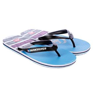Шлепанцы  Molokai Roam Black/White/Blue Quiksilver. Цвет: черный,фиолетовый,голубой